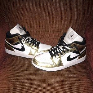 Gold Jordan 1 size 13